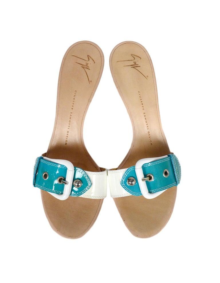 Women's Giuseppe Zanotti White/Turquoise Patent Buckle Mules sz 39 For Sale