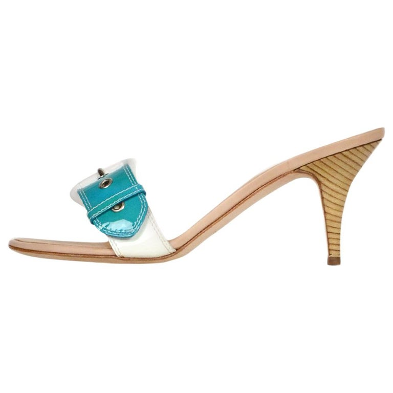 Giuseppe Zanotti White/Turquoise Patent Buckle Mules sz 39 For Sale