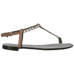 Giuseppe Zanotti Woman Flip-flops Brown Leather IT 37.5