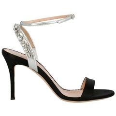 Giuseppe Zanotti Woman Sandals Black, Silver EU 37