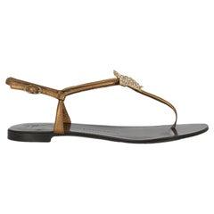 Giuseppe Zanotti Women Sandals Gold Leather EU 38