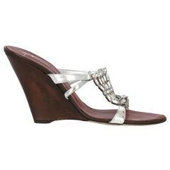 Giuseppe Zanotti Women  Wedges Silver Leather IT 39