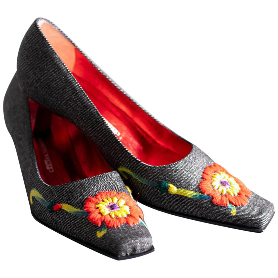 Giuseppe Zanotti Women's Shoes with Embroidered Flower