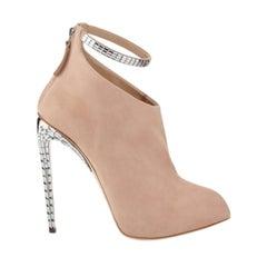 Giuseppe Zanotti x Jennifer Lopez Crystal Stiletto Suede Nude Frida Ankle Bootie