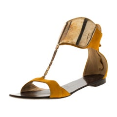 Giuseppe Zanotti Yellow Suede Chain T Strap Ankle Cuff Flats Sandals Size 37