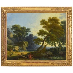 Giuseppe Zocchi 'Attributed' Oil on Canvas, Landscape with Figures