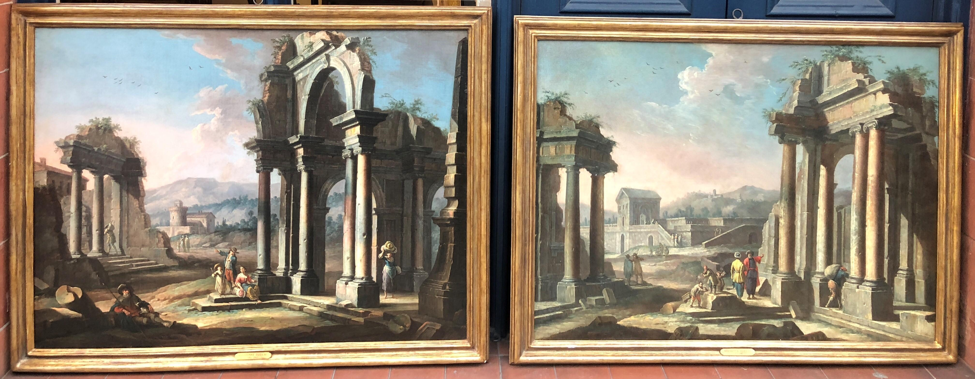 Serene C18th Pair of Architectural Capricci Oil Paintings of Classical Ruins