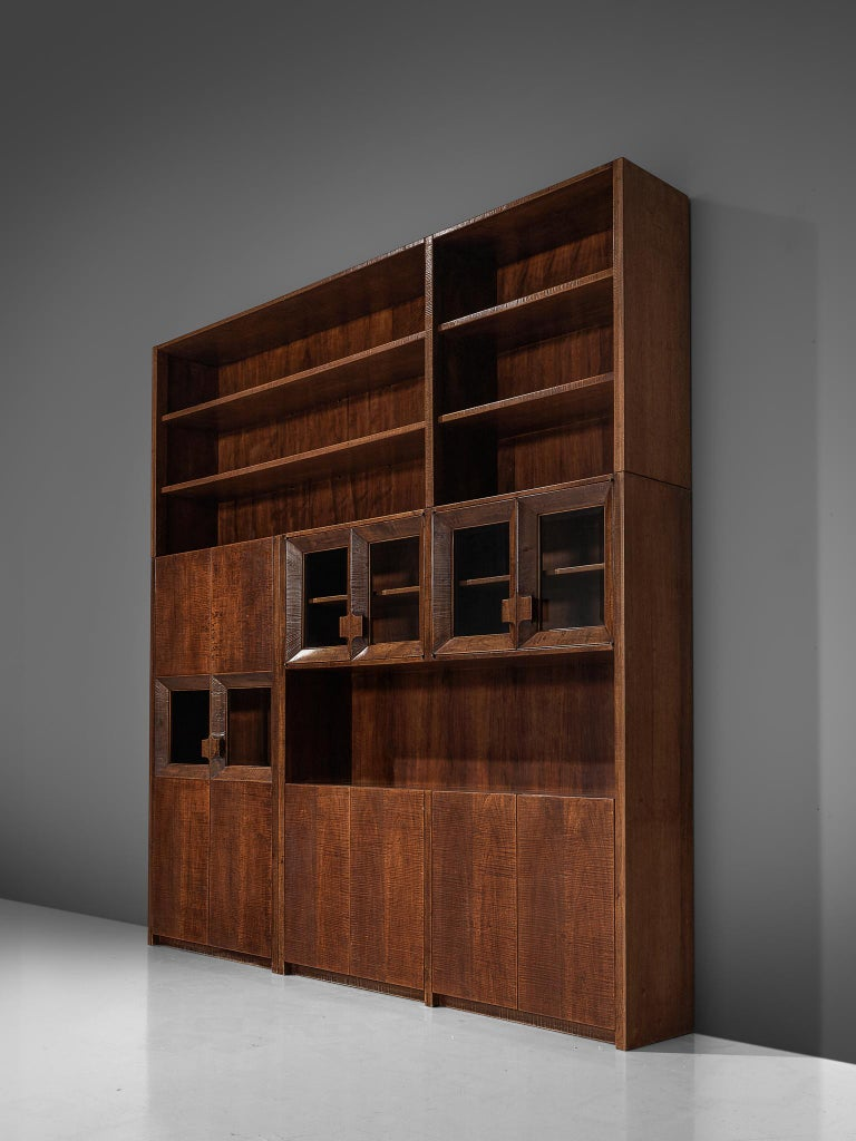 Giusseppe Rivadossi Wall Unit in Carved Oak For Sale 4