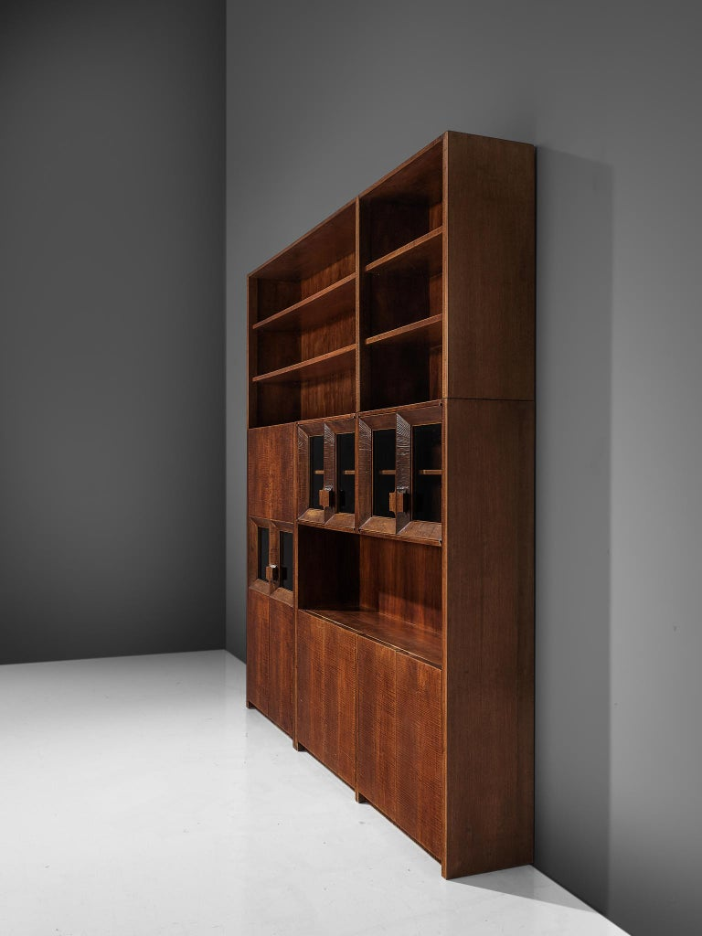 Giusseppe Rivadossi Wall Unit in Carved Oak For Sale 5