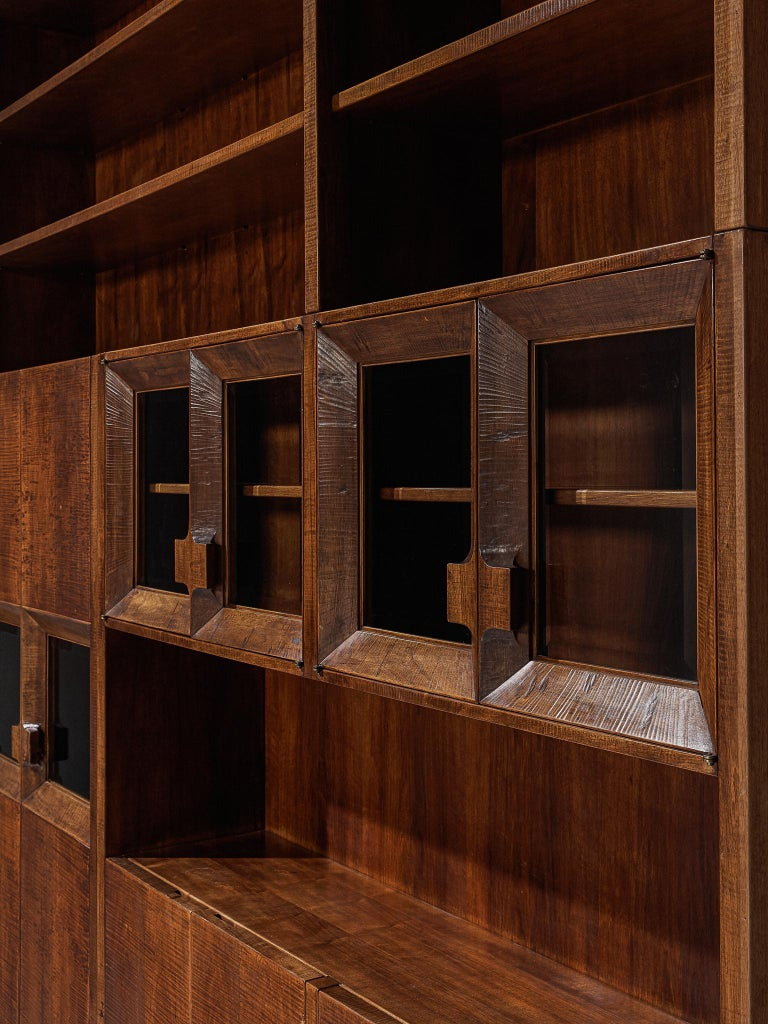 Mid-Century Modern Giusseppe Rivadossi Wall Unit in Carved Oak For Sale
