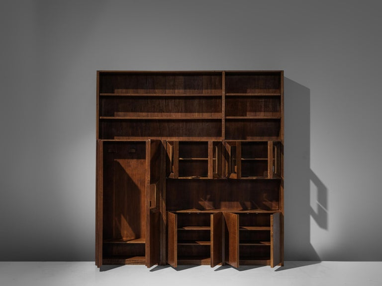 Italian Giusseppe Rivadossi Wall Unit in Carved Oak For Sale