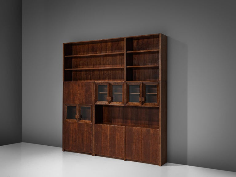20th Century Giusseppe Rivadossi Wall Unit in Carved Oak For Sale