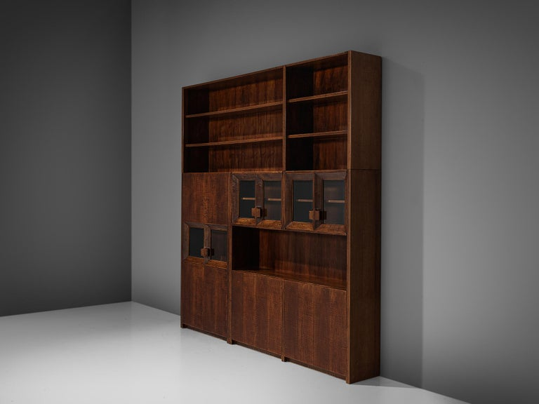 Giusseppe Rivadossi Wall Unit in Carved Oak For Sale 2