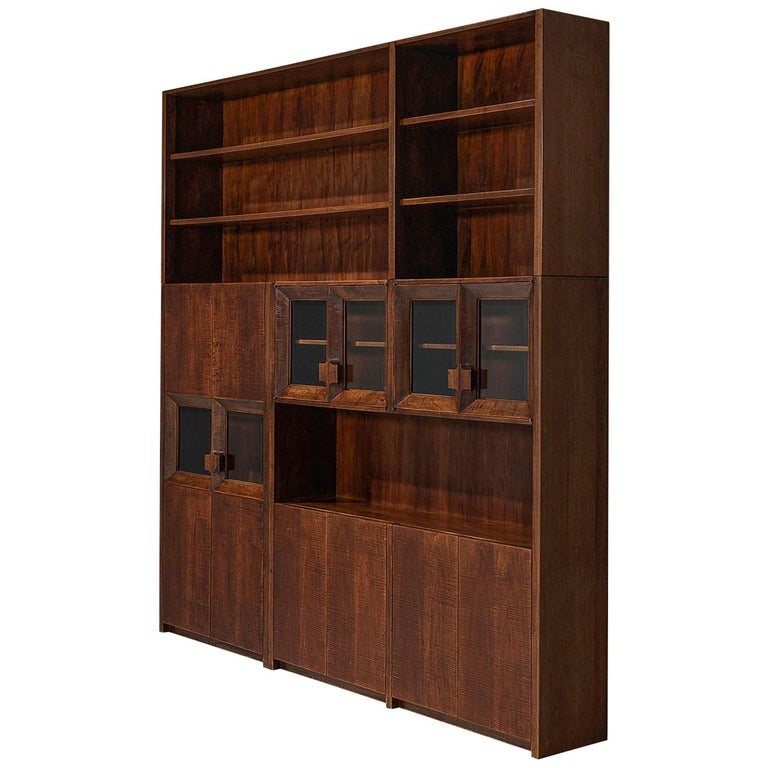 Giusseppe Rivadossi Wall Unit in Carved Oak For Sale
