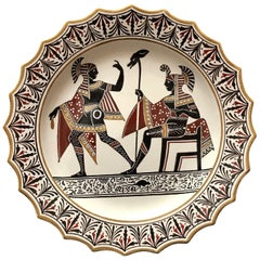 Giustiniani Egyptian Motif Pottery Plate with Gilt Highlights, Rodent