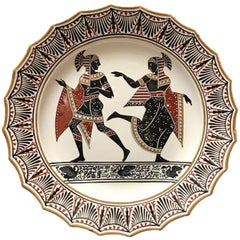 Giustiniani Egyptomania Pottery Plate with Gilt Highlights, Swan Left