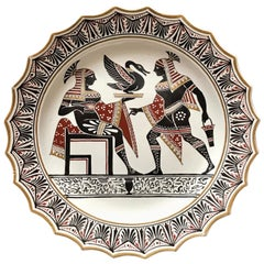 Giustiniani Egyptomania Pottery Plate with Gilt Highlights, Urn