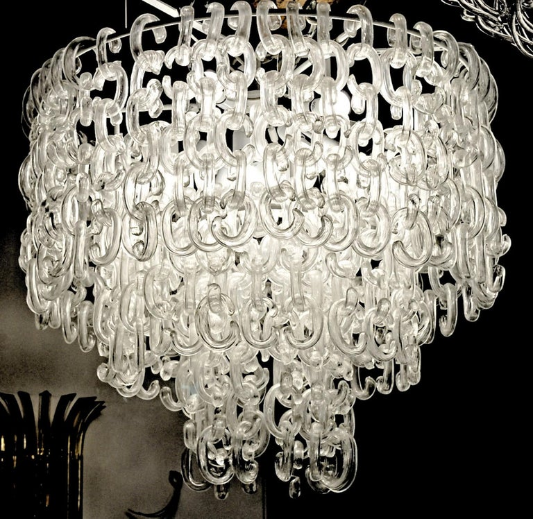 Giusto Toso for Fratelli Toso, Gala Chandelier, Clear Blown Elements, 1960s For Sale 2