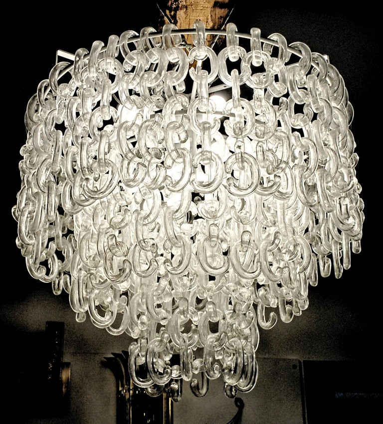 Giusto Toso for Fratelli Toso, Gala Chandelier, Clear Blown Elements, 1960s For Sale 3