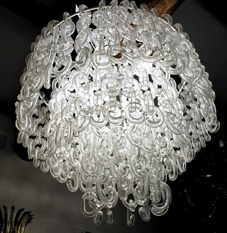 Giusto Toso for Fratelli Toso, Gala Chandelier, Clear Blown Elements, 1960s For Sale 5