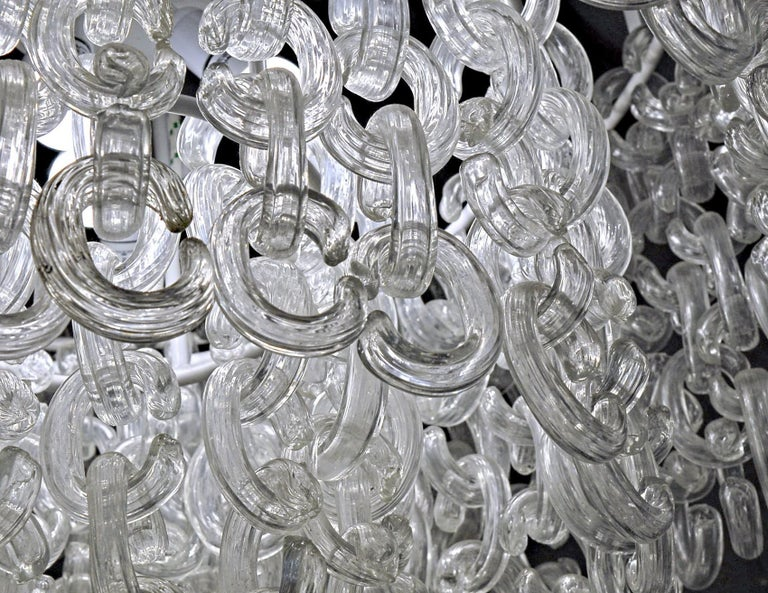 Giusto Toso for Fratelli Toso, Gala Chandelier, Clear Blown Elements, 1960s For Sale 6