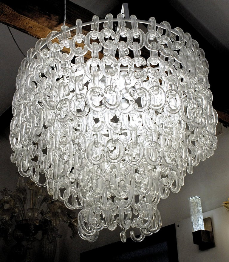 Giusto Toso for Fratelli Toso, Gala Chandelier, Clear Blown Elements, 1960s For Sale 7