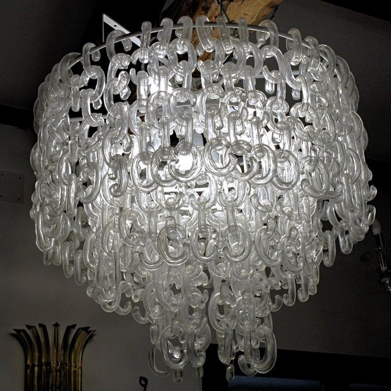 Giusto Toso for Fratelli Toso, Gala Chandelier, Clear Blown Elements, 1960s For Sale 9