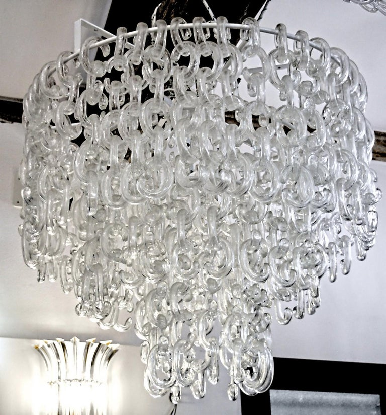 Giusto Toso for Fratelli Toso, Gala Chandelier, Clear Blown Elements, 1960s For Sale 10