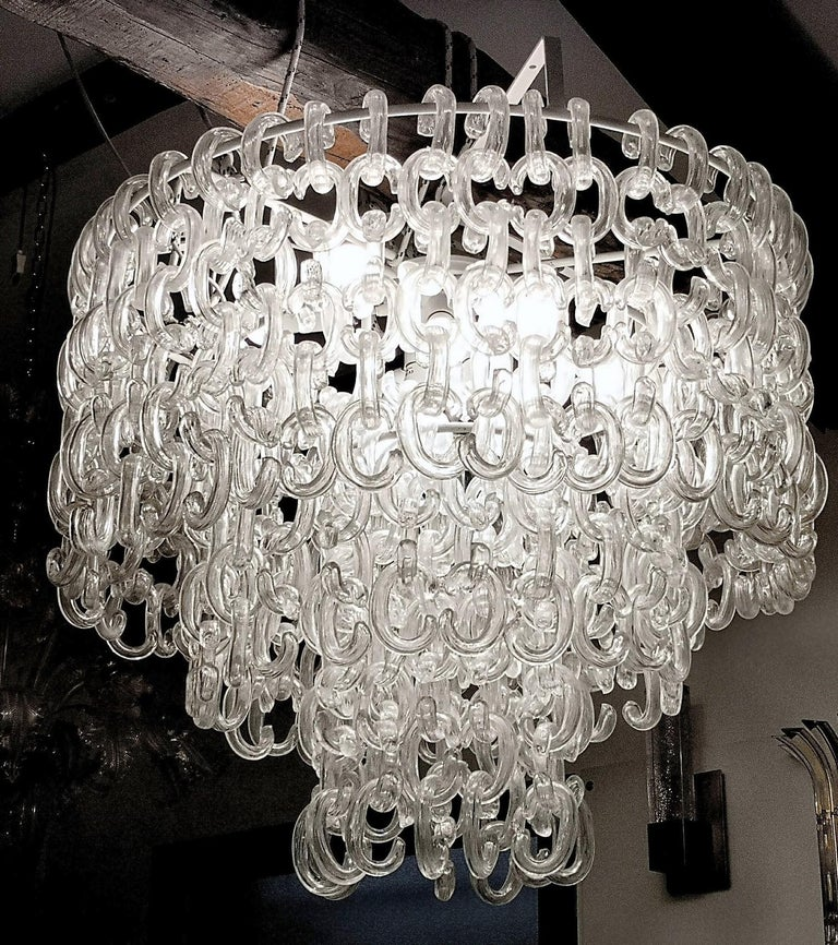 Chandelier made using the Gala element designed by Giusto Toso for Fratelli Toso.