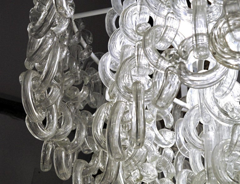 Italian Giusto Toso for Fratelli Toso, Gala Chandelier, Clear Blown Elements, 1960s For Sale
