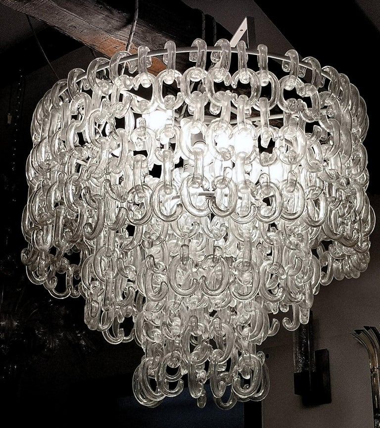 Hand-Crafted Giusto Toso for Fratelli Toso, Gala Chandelier, Clear Blown Elements, 1960s For Sale