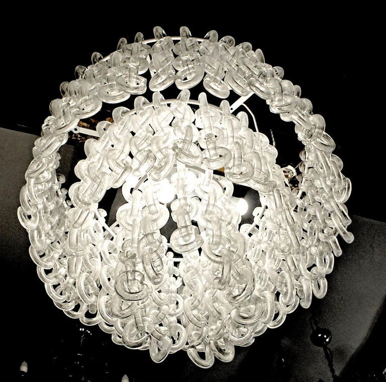 Giusto Toso for Fratelli Toso, Gala Chandelier, Clear Blown Elements, 1960s In Good Condition For Sale In Tavarnelle val di Pesa, Florence