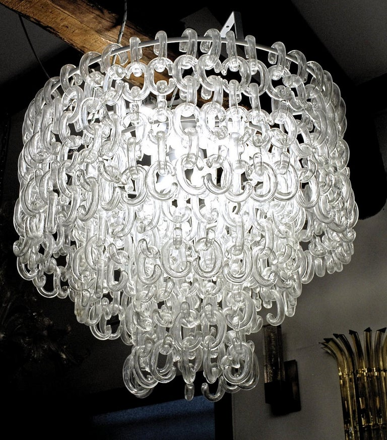 Art Glass Giusto Toso for Fratelli Toso, Gala Chandelier, Clear Blown Elements, 1960s For Sale