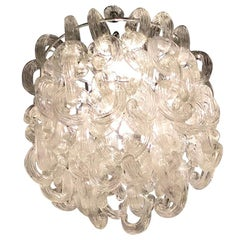 "Giusto Toso ""Fratelli Toso"" Gala Chandelier Murano Glass Metal Crome 1960, Italy"
