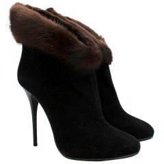Giuzepe Zanotti Mink Fur Trimmed Black Suede Ankle Boots 40