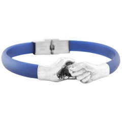 Give and Receive Silver and Rubber Bracelet with Navy Strap by Lorenzo Quinn