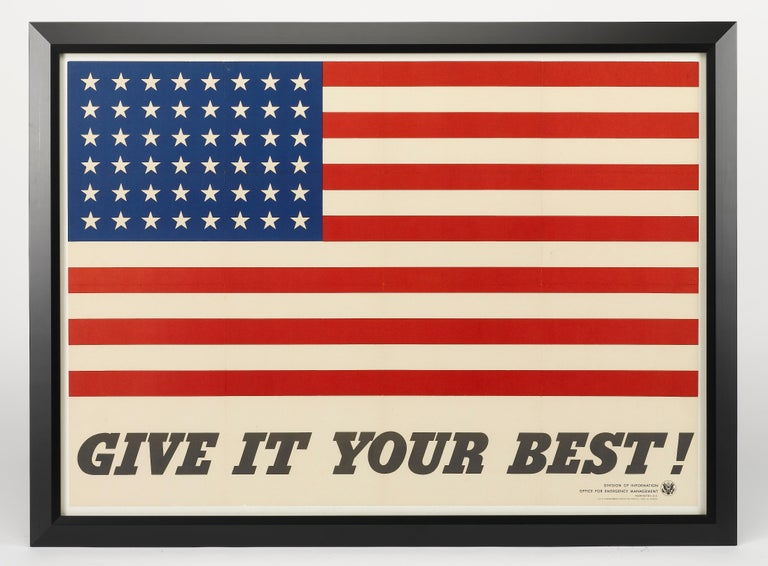 Beautiful, simply-designed poster, unsigned, but credited to artist Charles Coiner. Among the earliest posters produced by the Office of War Information (OWI Poster No.9), unmistakably patriotic, with the