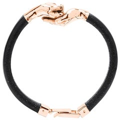 Give and Receive 18 Carat Rose Gold Bracelet with Leather Strap for Him