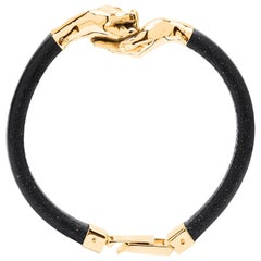 Give and Receive 18 Carat Yellow Gold Bracelet with Leather Strap for Him