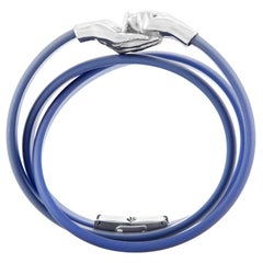 Give and Receive Double Twist Silver and Rubber Bracelet with Navy Strap