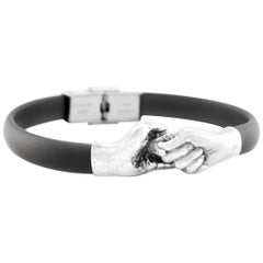 Give & Receive Silver Bracelet with Black Rubber Strap by Lorenzo Quinn