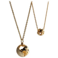 Give the World Yellow Gold Plate Set of 2 Classic World Pendant Necklaces
