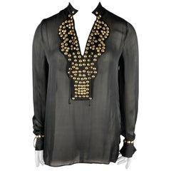 GIVENCHY 10 Black Gold Studded Silk Chiffon Resort 2010 Blouse