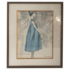 Givenchy 1958 Fashion Illustration by Pierre Mourgue Framed