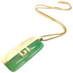 Givenchy 1970s Vintage Gold Plated Jade Green Pendant Necklace