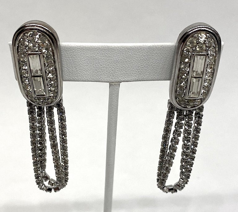 Givenchy 1980s Art Deco Rhinstone Fringe Earrings In Good Condition For Sale In New York, NY