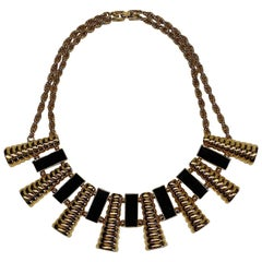 Givenchy 1980s Black Enamel & Gold Art Deco Necklace