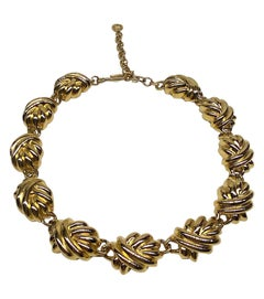 Givenchy 1980s Gold Knot Link Necklace