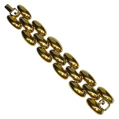 Givenchy 1980s Gold Wide Link Bracelet