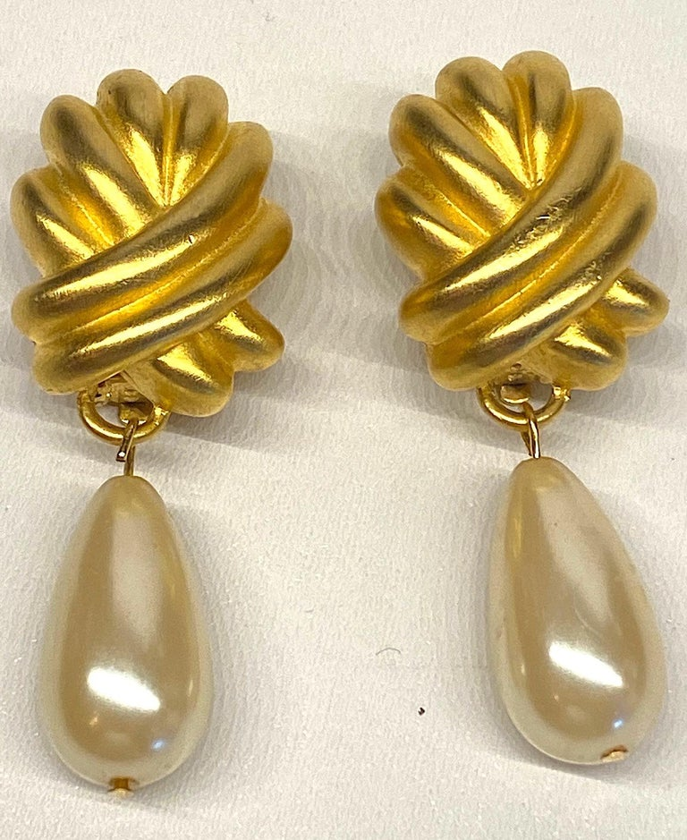 Givenchy 1980s Satin Gold & Pearl Pendant Earrings 6